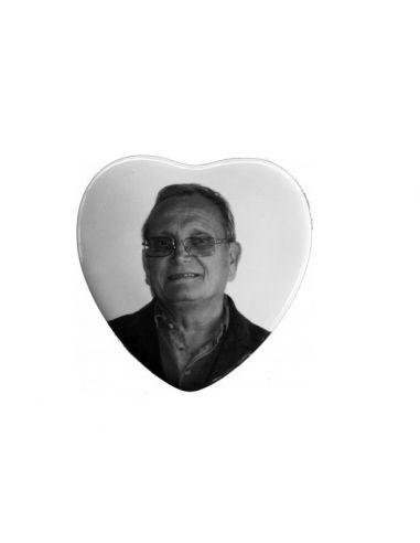 Médaillon coeur 8x8cm en noir et blanc photo funéraire porcelaine pour portrait