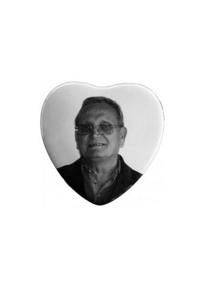 Médaillon coeur 10x10cm en noir et blanc photo funéraire porcelaine pour portrait