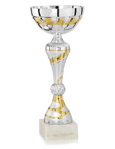 Coupe argentée et dorée avec socle en marbre de 25 à 37 cm