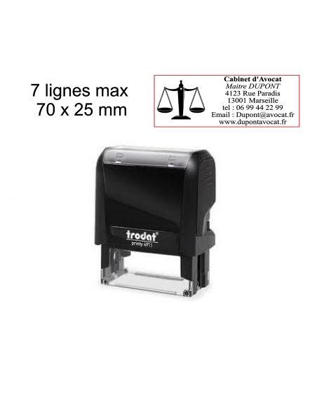 Tampon encreur 7 lignes personnalisé automatique Trodat Printy 4915 monochrome