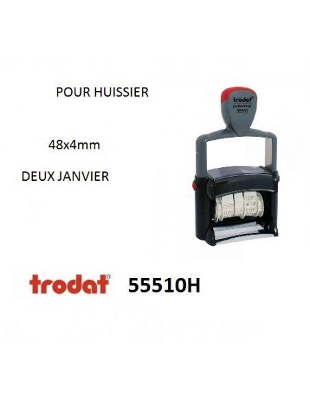 tampon dateur huissier 55510H metal pro 4mm avec jour et date en lettre 48x4mm