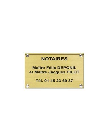 Plaque professionnelle 20x30mm standard fond or brossé , écriture noire 20x30 cm