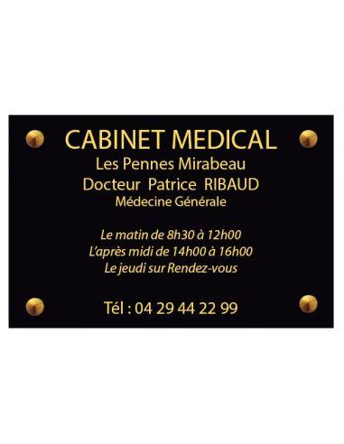 Plaque professionnelle 20x30mm standard fond alu brossé , écriture noire 20x30 cm