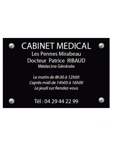 Plaque professionnelle 20x30mm standard fond noir brillant ,écriture Blanc ép 1,6 mm