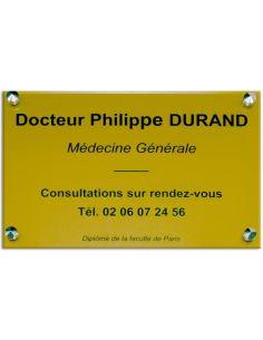 Plaque professionnelle 20x30cm en plexi, fond or, épaisseur 3 mm, 6 couleurs