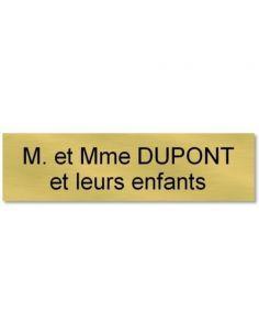 plaque etiquette autocollante de porte personnalisée 70x30 mm or et noir