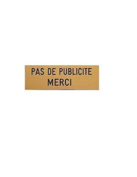 Plaque pas de publicité merci etiquette adhésive boite aux lettres 93x25