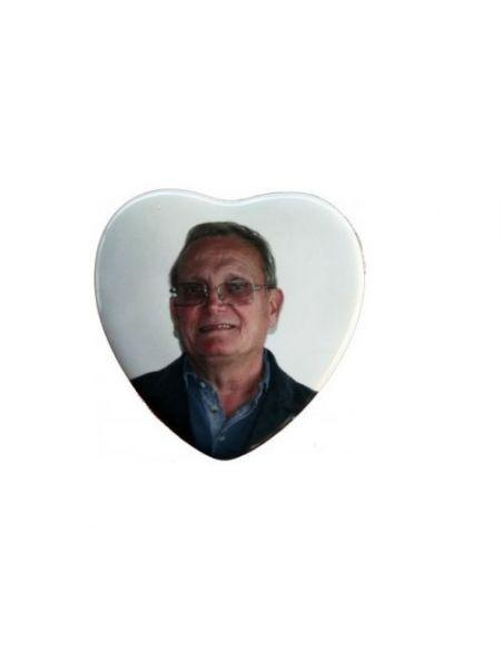 Médaillon coeur 10x10cm en couleur photo funéraire porcelaine pour portrait