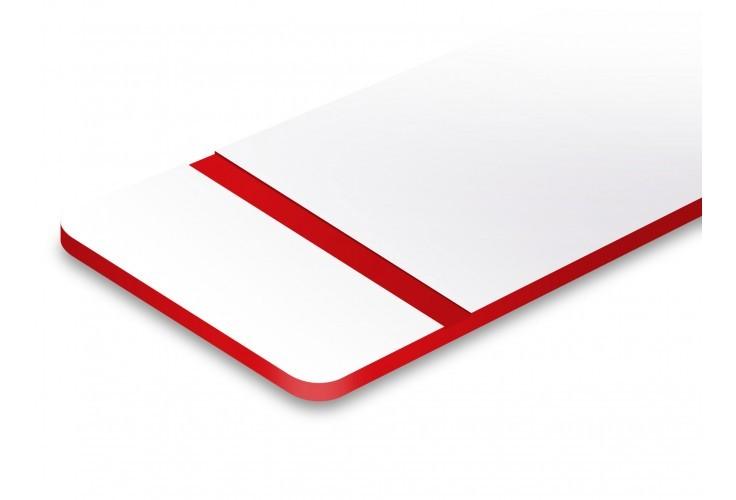 plaque blanche texte rouge