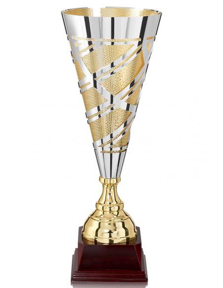 Coupe dorée et argent avec socle en bois de 46 à 60 cm