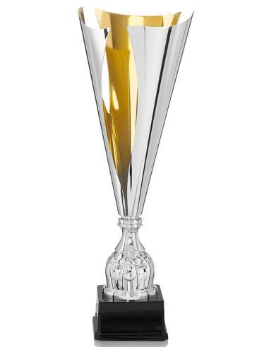 trophée métal couleur or et argent avec etiquette