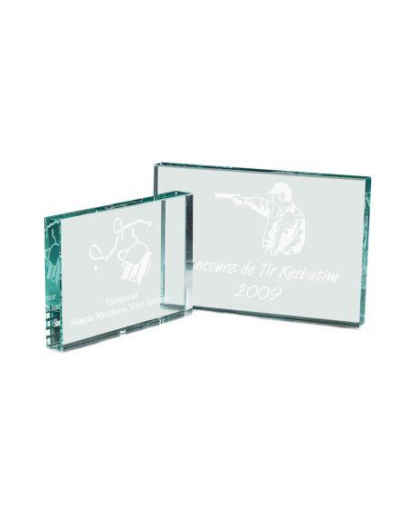 Trophée en verre format rectangulaire gravée