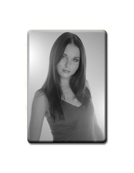 Médaillon rectangulaire 5x7 cm noir et blanc photo funéraire porcelaine pour portrait