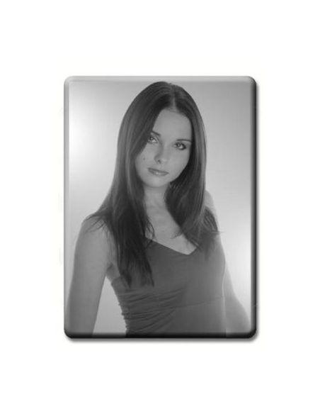 Médaillon rectangulaire 6x8 cm noir et blanc photo funéraire porcelaine pour portrait