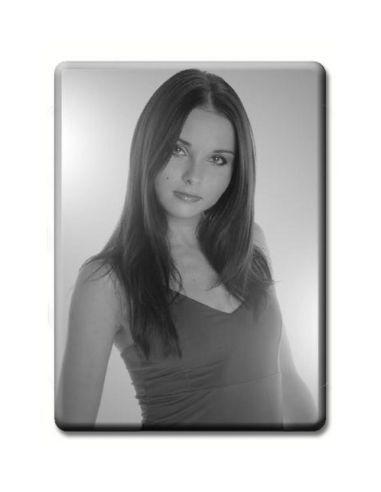 Médaillon rectangulaire noir et blanc photo funéraire porcelaine pour portrait