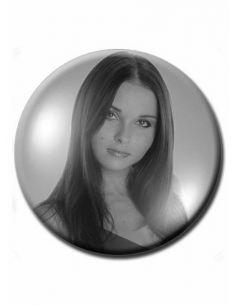 Médaillon rond dia 6 cm noir et blanc photo funéraire porcelaine pour portrait
