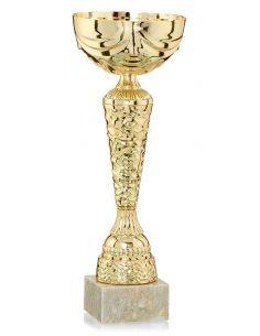Coupe en métal dorée avec socle en marbre de 32 cm