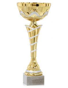 Coupe en métal argentée et dorée avec socle en marbre de 25 à 37 cm