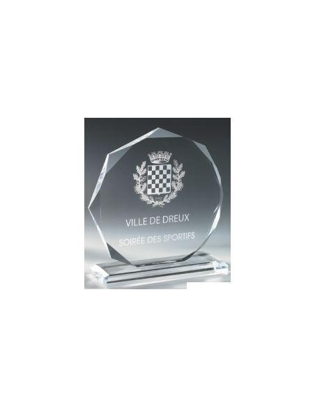 Trophée en verre format octogonal gravée de 17 à 22 cm