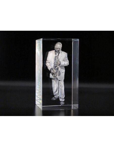 Photo 3d dans un cube de verre carré gravé format 60x60x60mm