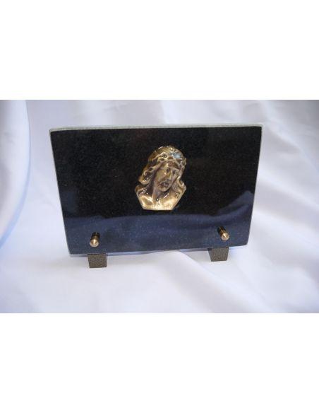Plaque funéraire avec Chrit en granit noir fin format 18x12cm