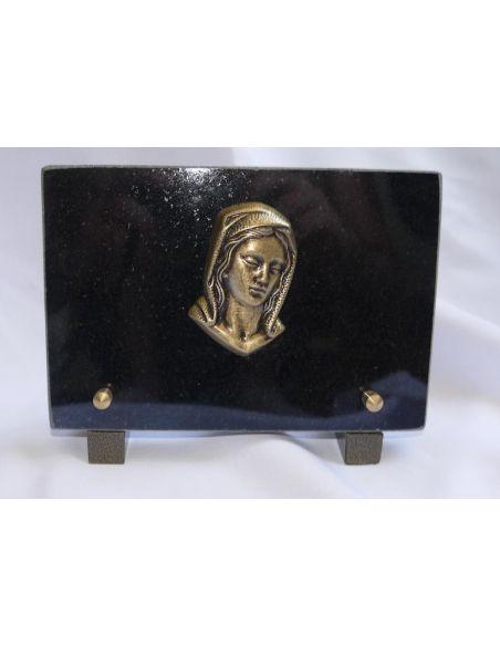 Plaque funéraire avec Vierge en granit noir fin format 18x12cm