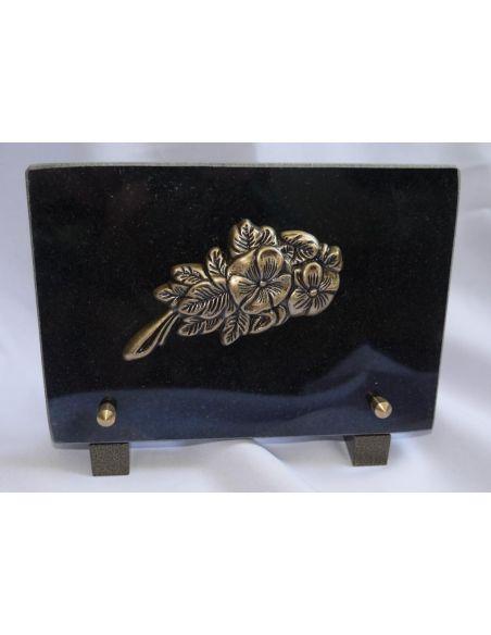 Plaque funéraire avec fleur en bronze granit noir fin format 18x12cm