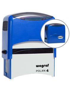 Tampon encreur 5 à 6 lignes de texte encre noire format 59x25 mm wagraf polan 4S