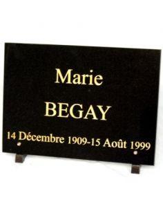 Plaque funéraire rectangulaire noir fin 25x35cm