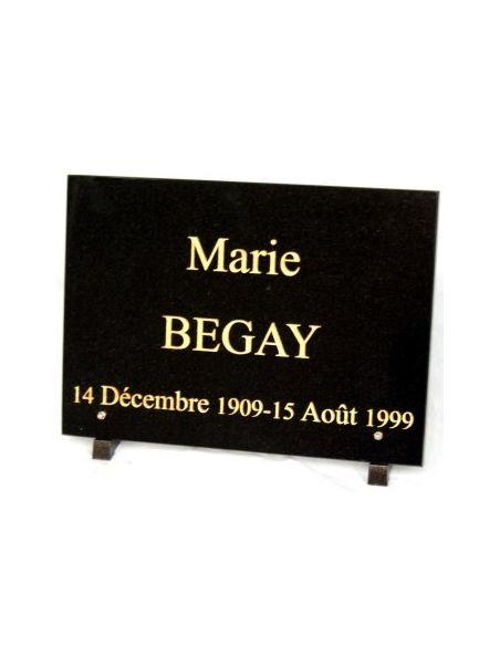 Plaque funéraire en granit rectangulaire noir fin 20x30cm sur équerre en alu