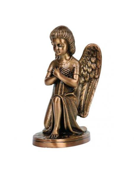 statue ange funéraire en bronze haute 25cm sur base