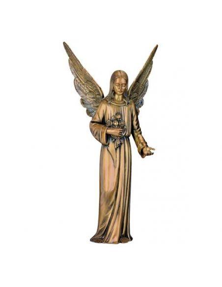statue ange funéraire en bronze haute 95 cm sur base
