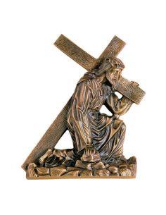 Tete du Christ funéraire en bronze pour plaque hauteur 11,5 cm