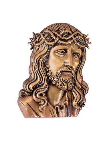 Tete du Christ funéraire  en bronze pour plaque hauteur 18