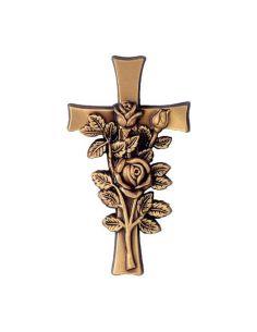 Croix avec bouquet de fleurs en bronze pour plaque funeraire hauteur 20cm