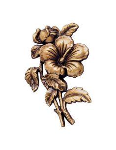 fleur en bronze pensé pour plaque funéraire hauteur 15cm