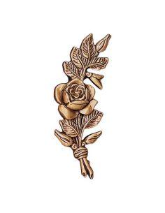 Fleur en bronze rose qui penche à droite pour plaque funéraire hauteur 6cm
