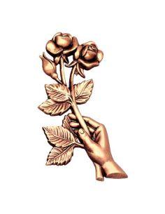 main avec rose en bronze pour plaque funéraire hauteur 19 cm