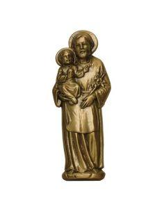 st joseph en bronze pour plaque mortuaire en marbre