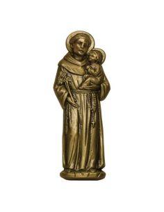 Antoine de Padoue en bronze pour plaque mortuaire en marbre