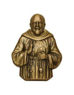 saint frère pio en bronze pour plaque mortuaire en marbre