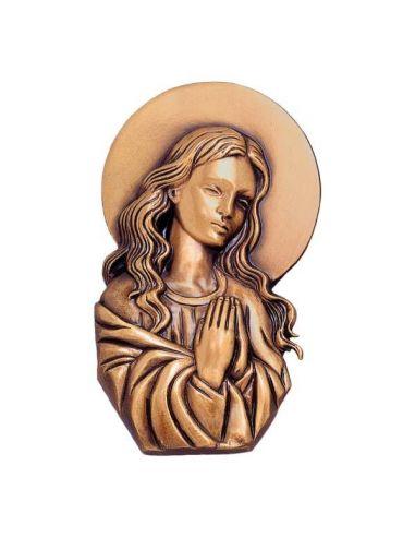 vierge en bronze cimetière  et plaque mortuaire