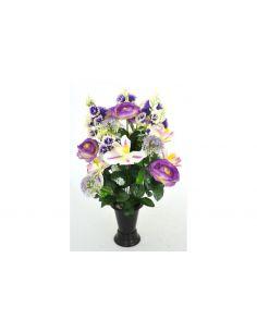 fleur artificielle renoncules et orchidées violet pour cimetière