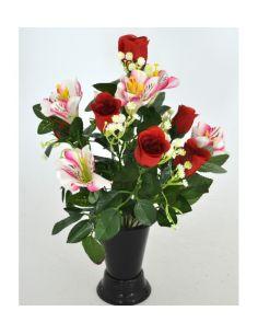 Fleur artificielle dia 25cm composition de roses et alstroemerias rouge pour cimetière