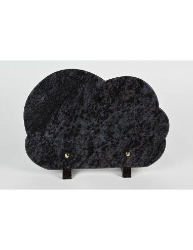 plaque funéraire forme nuage en granit avec gravure