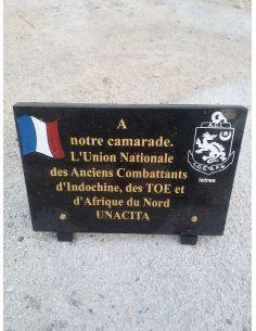 Plaque  anciens combattants  sur mesure en granit noir avec gravure texte de votre choix