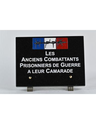 Plaque  anciens combattants  en granit les anciens combattant prisonniers de guerre