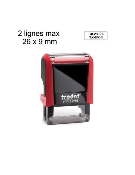 Tampon encreur 2 lignes personnalisé automatique Trodat Printy 4910 monochrome