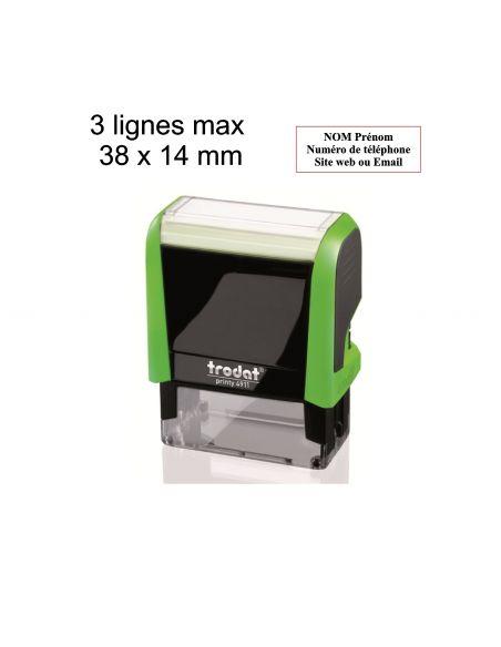 Tampon encreur 3 lignes personnalisé automatique Trodat Printy 4911 monochrome