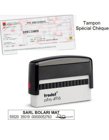 Tampon encreur pour chèque 2 lignes personnalisé 4916 idéal pour endosser les chèques
